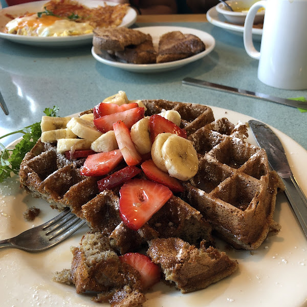 Gluten free waffles. They also have gluten free pancakes, buns and raisin bread