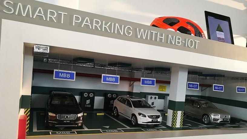 A miniature version to showcase Ericsson's smart parking technology solution.