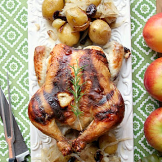 Healthy, Lowfat Rosemary Roast Chicken with Grapes, Olives and Onions