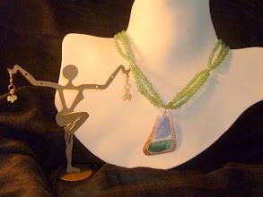 Photo: <BEREHYNYA> {Great Goddess Protectress} unique one-of-a-kind statement jewellery by Luba Bilash ART & ADORNMENT  SONGS OF NATURE – ПІСНІ ПРИРОДИ - copper enamel pendant, green aventurine, rose gold vermeil SOLD/ПРОДАНИЙ