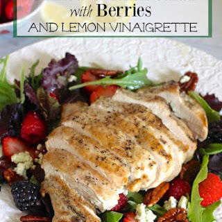 Grilled Chicken Salad with Berries and Honey Lemon Dressing.