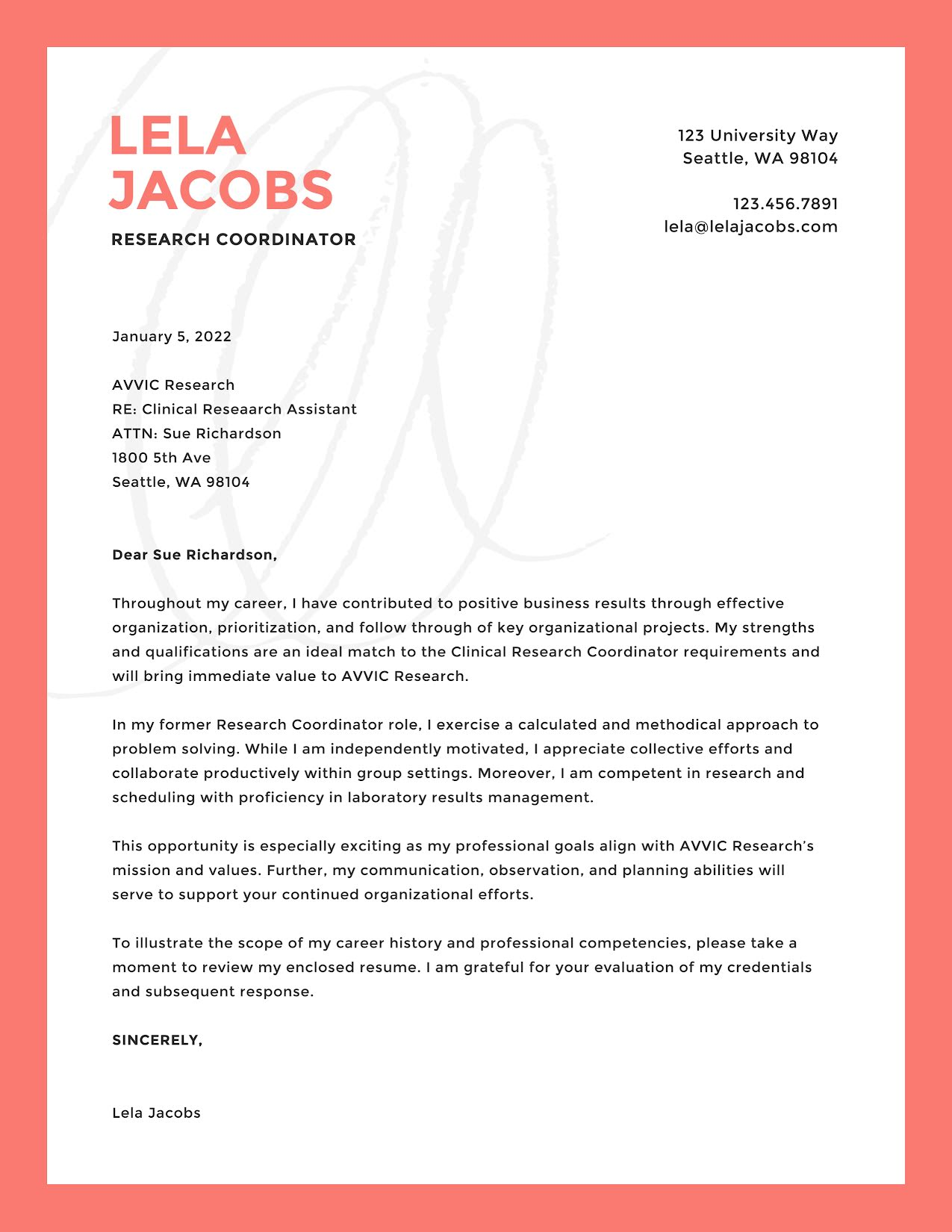 Lela Jacobs - Cover Letter Template