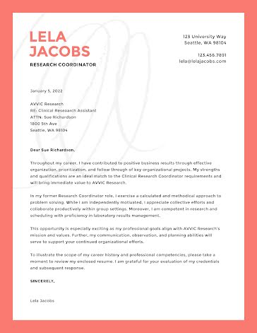 Lela Jacobs - Cover Letter Template
