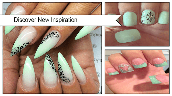 Mint Green Leopard Nail Art - náhled