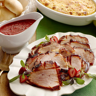 Smoky Ham with Strawberry-Chipotle Sauce.