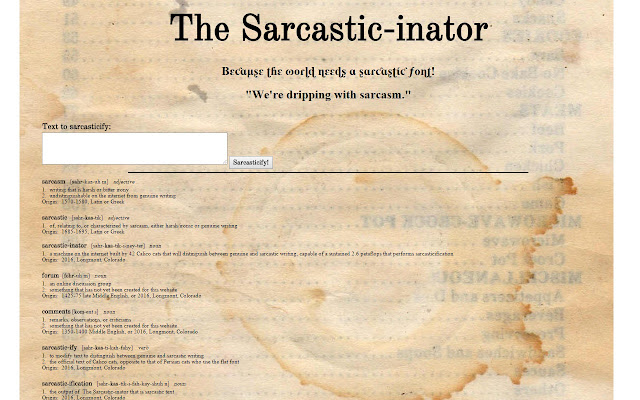Sarcastic Font - The Sarcasticinator