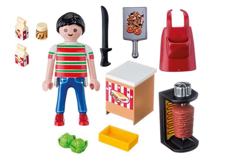 Contenido Real de Playmobil® 9088 Vendedor de Kebab
