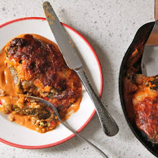 Stuffed Roasted Poblano Peppers with Cashew-Chipotle Sauce.