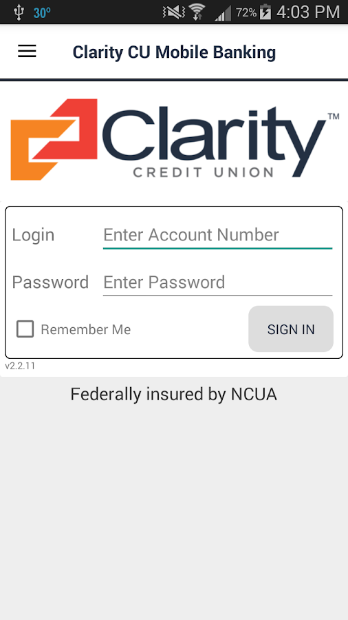 Clarity CU Mobile Banking- screenshot