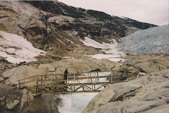 Photo: Crossing therickety bridge to get to the glacier