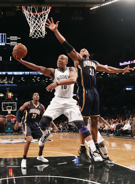 Photo: Keith Bogans #10 of the Brooklyn Nets puts down two in the second half against the Indiana Pacers at the Barclays Center on January 13, 2013 in New York City.