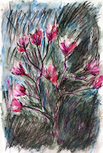 """Photo: Little Magnolia Tree That Is Now Blossoming, 2012, 6"""" x 10"""", mixed media, Grumbacher acid-free journal paper.  Just a little experiment... I found a dozen or so tubes of watercolour (Windsor & Newton as well as their Cotman line) in a dusty old box under my desk, tubes that must be 25 years old. Some of them are still usable! A quick watercolour sketch of an even quicker street sketch a week or two back."""
