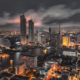 Bangkok night life with glow in the dark color tone, illuminated cityscape on skyscraper by Waraphorn Aphai - City,  Street & Park  Night ( office, building, scene, view, rush hour, thailand, cityscape, dynamic, highway, landmark, skyscrapers, tower, traffic, train, metropolitan, metropolis, night, bangkok, downtown, skyscraper, light, city, financial, vehicles, long exposure, skyline, scenery, twilight, speed, central, modern, street, mysterious, station, illuminate, architecture, editorial, famous, business, motion, asia, asian, transport, way, transportation, glowing, urban, evening, travel, movement, landscape )