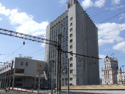 Minsk - die Hauptstadt Weißrusslands. Ein Blick vom Hauptbahnhof.