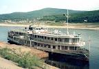 Raddampfer Krasnojarsk am Passagierhafen Osetrovo (Ust-Kut) 1999