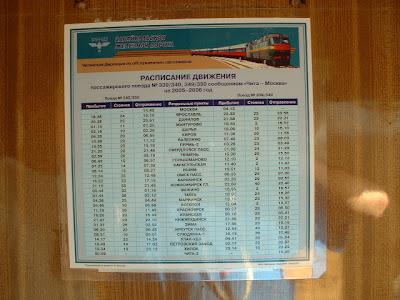 Der Zeitplan des Transsib-Zuges 339/340, wie er in jedem Waggon aushängt.