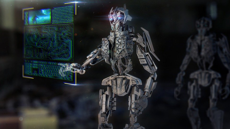 A animated image of a robot to show artificial intelligence.