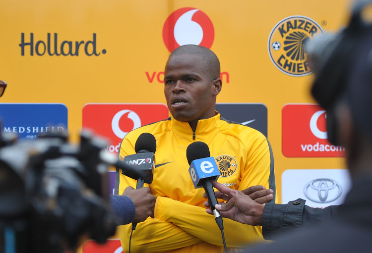 Kaizer Chiefs Zimbabwean midfielder Willard Katsande speaks to reporters during an open media day April 12 2018 at Naturena, south of Johannesburg.