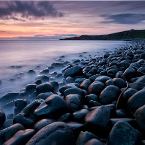 Northumberlan Dawn by Ian Pinn - Landscapes Waterscapes ( clouds, england, dawn, ruin, tide, sea, castle, rocks, dunstanburgh,  )