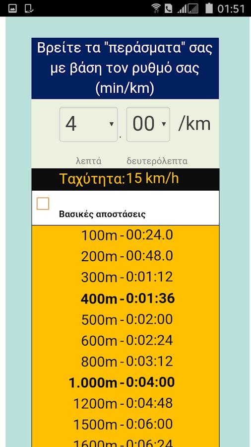 Τρέξιμο-υπολογιστής ρυθμού - στιγμιότυπο οθόνης