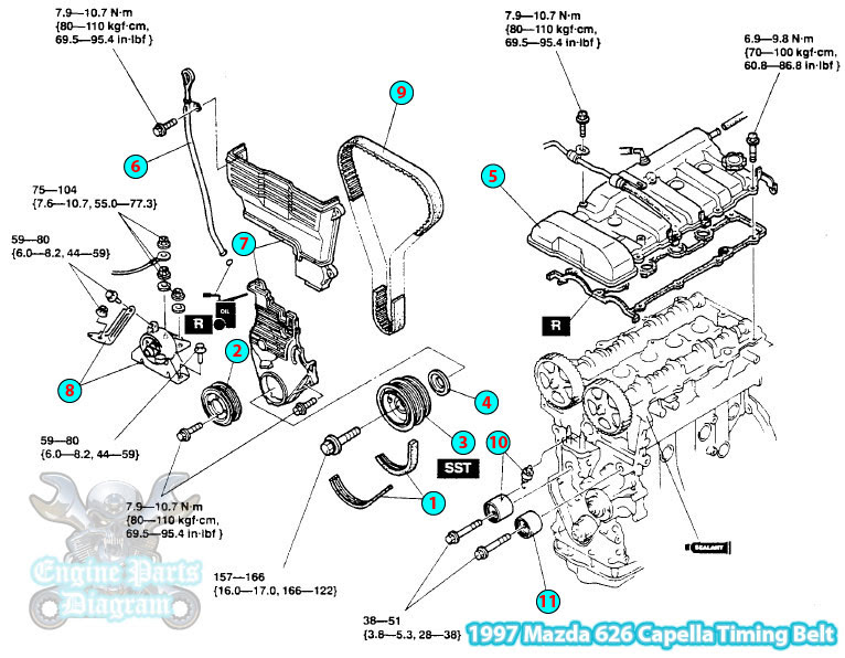 1997 Mazda 626 Capella Timing Belt Parts Assembly Diagram