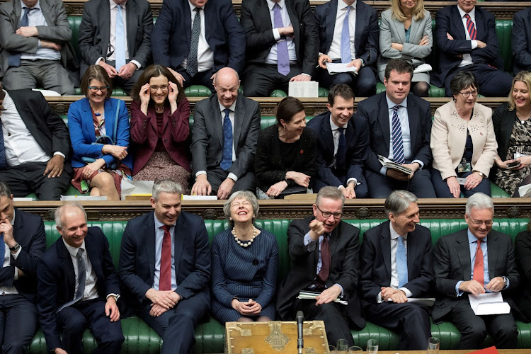 UK Prime Minister Theresa May reacts during the debate on extending Brexit negotiating period in Parliament in London, Britain, on March 14 2019. Picture: REUTERS/JESSICA TAYLOR