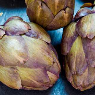 Steamed Baby Purple Artichokes with Olive Oil