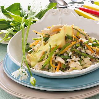 Reispfanne mit Hähnchen und Bärlauch