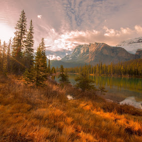 by Penny Miller - Landscapes Mountains & Hills ( sunburst, mountains, canadian rockies )