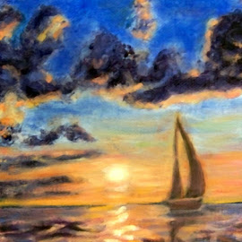 Sailboat Sunset 1 by RMC Rochester - Painting All Painting ( random, art, painting, nature, sunset, clouds, abstract, water, boat, colors, transportation )