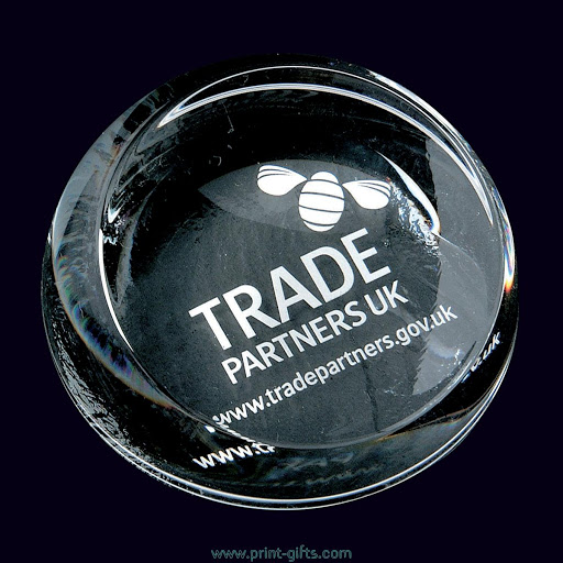 Domed Engraved Paperweights In Optical Crystal