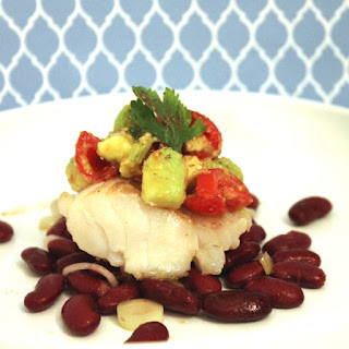 Cod with Avocado Tartare and Spicy Red Beans