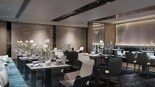 evrima-dining.jpg - The Evrima Room is the main complimentary restaurant overseen on the new luxury yacht Evrima.