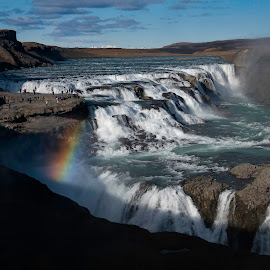 Gullfoss Falls in Iceland by Jeffrey Hechter - Landscapes Waterscapes