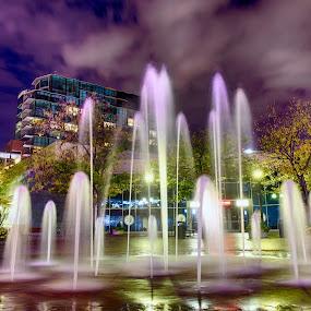 Foutain on The Grove by Rachaelle Larsen - City,  Street & Park  Night ( idaho, long exposure fountain, the grove, fountain, downtown boise )