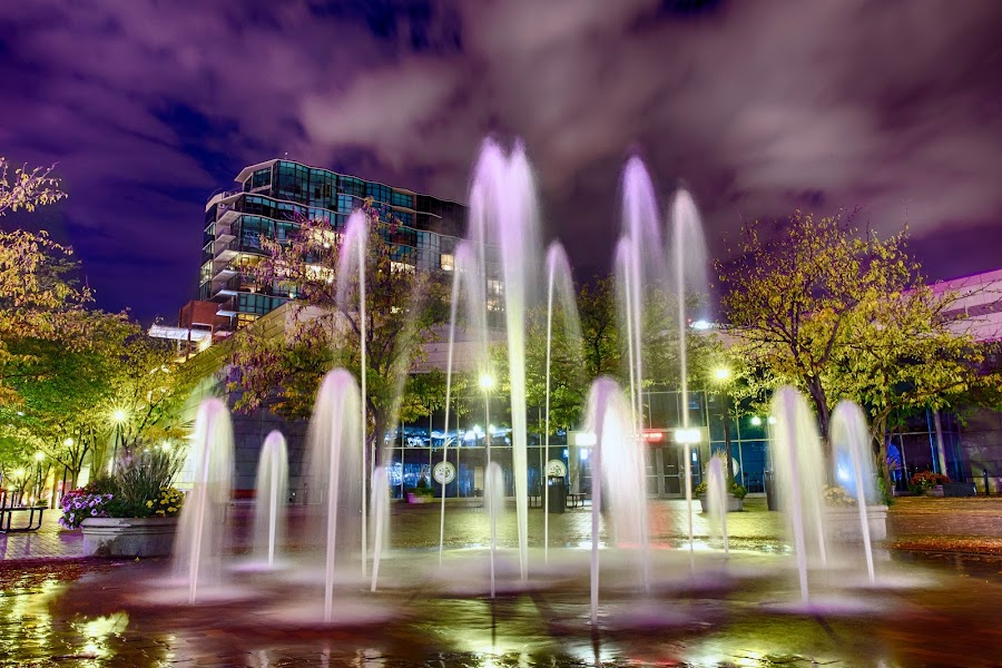Foutain on The Grove by Rachaelle Larsen - City,  Street & Park  Night ( idaho, long exposure fountain, the grove, fountain, downtown boise )