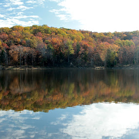 Fall Reflection by Miranda Powers - Landscapes Mountains & Hills ( water, reflection, color, fall, landscape,  )