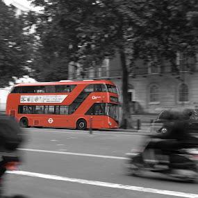 Iconic Red Doublr decker by Austin Neelankavil - City,  Street & Park  Street Scenes ( bus )