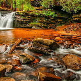 Carrick Creek Falls Table Rock State Park SC by Charles Hardin - Landscapes Waterscapes
