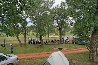 Photo: Our group camp site at Medora Camp Grounds, located in a bend of the Little Missouri River near Theodore Roosevelt National Park