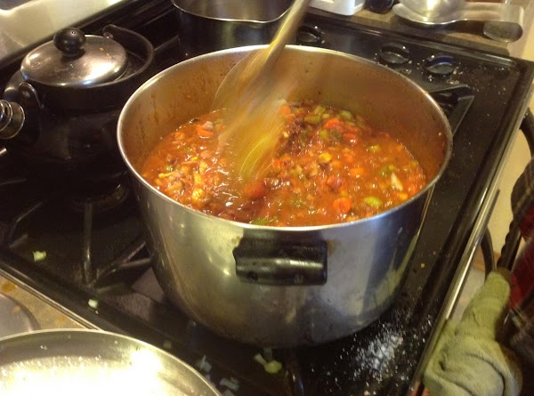 Stir to mix together till blended together in pot.
