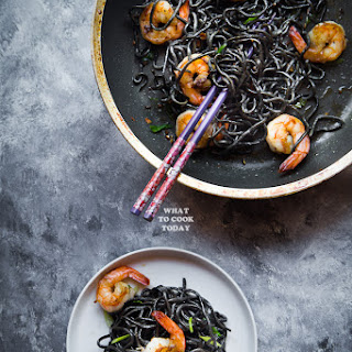 Homemade Squid Ink Ramen + Buttered Ramen with Shrimp Stir-fry.