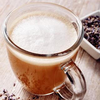 Coffee with Warm Lavender Steamed Milk.