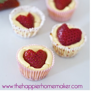 Strawberry Heart Mini Cheesecake Bites.