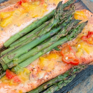 Cedar Plank Salmon with Ghost Pepper-Mango Glaze