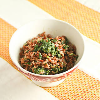 Indian-Style Mustard Greens with Red Rice.