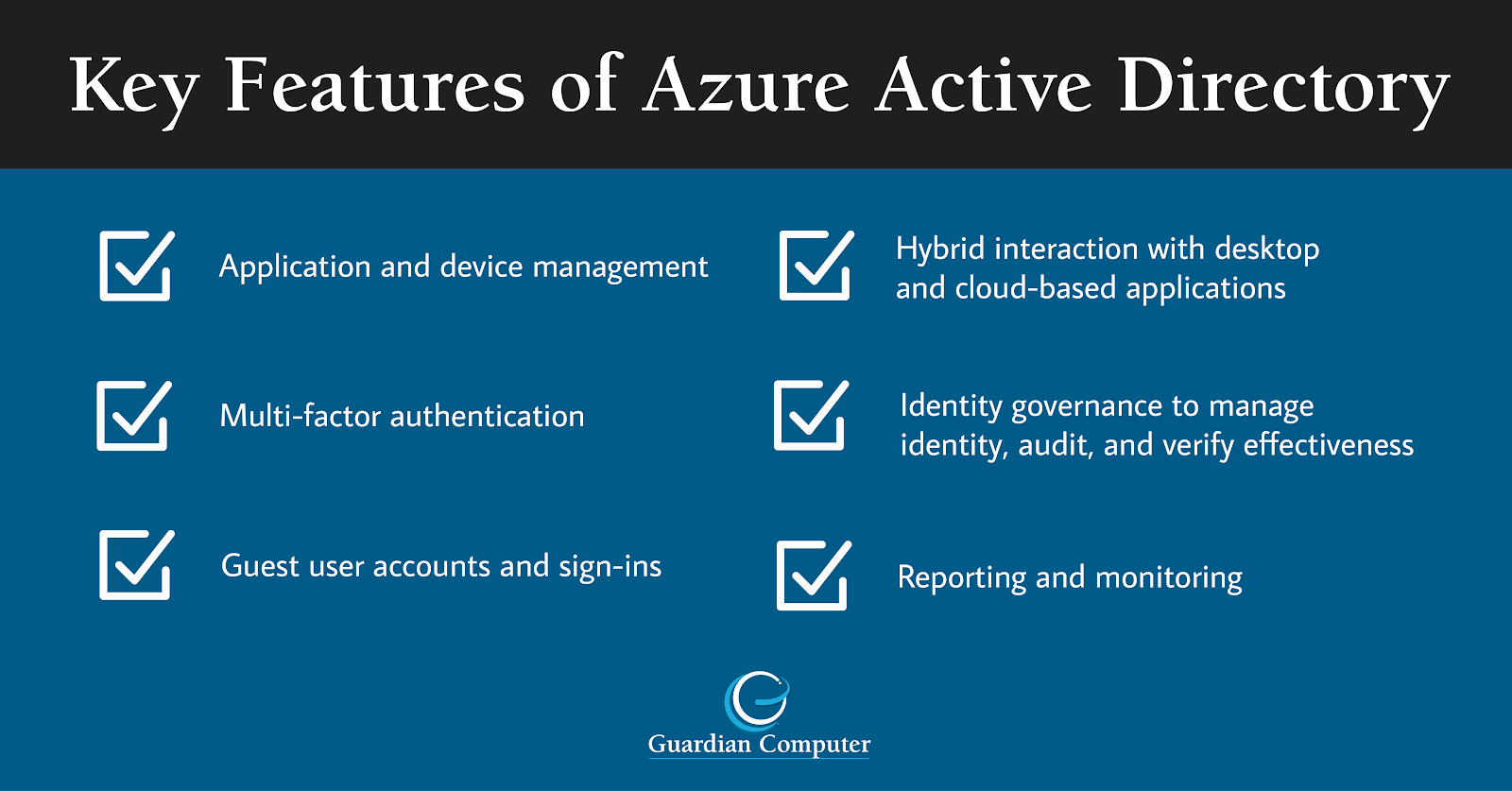 Consider the key features of Azure Active Directory in this infographic when deciding should your business migrate from G Suite to Microsoft 365.
