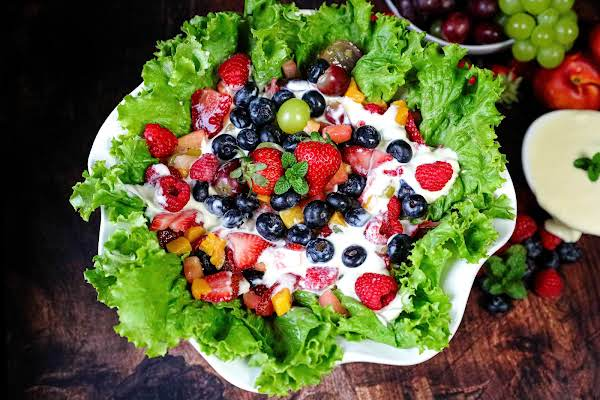 Summertime Or Anytime Fruit Salad In A Serving Bowl.