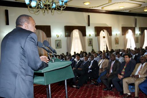 President Uhuru Kenyatta meets Jubilee MPs at State House Nairobi.