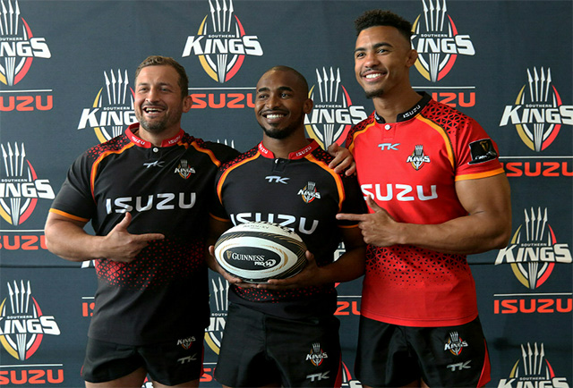 Players, from left, Schalk Ferreira, Andisa Ntsila and Bobby de Wee show off the new Isuzu Southern Kings kit